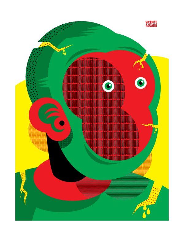 vicente aguado giclee print portrait drawing illustration limited edition ricochet surrealism underground art outsider art art contemporary art contemporary portrait portrait deepstate deepstateshop